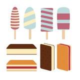 Θέστε ποικίλο εύγευστο φρέσκο παγωτό ελεύθερη απεικόνιση δικαιώματος
