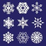 θέστε snowflakes Λεπτή χειμερινή διακόσμηση Snowflake συλλογή Στοκ εικόνα με δικαίωμα ελεύθερης χρήσης