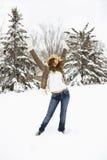 θέτοντας γυναίκα χιονιού Στοκ Εικόνες