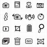 Θέτοντας εικονίδια καμερών φωτογραφιών διανυσματικά Στοκ εικόνες με δικαίωμα ελεύθερης χρήσης