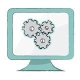 Θέτοντας εικονίδιο στο όργανο ελέγχου υπολογιστών - διανυσματική απεικόνιση Στοκ Φωτογραφίες