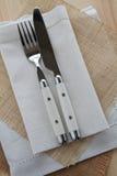 θέτοντας επιτραπέζιο λευκό λινού Στοκ εικόνες με δικαίωμα ελεύθερης χρήσης
