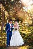 Θέτοντας νύφη και νεόνυμφος ημέρα ηλιόλουστη Στοκ Φωτογραφία