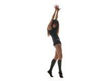 Θέτοντας χορευτής γυναικών Χορεύοντας σκιαγραφία στοκ φωτογραφία