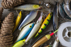 Θέλγητρα και εξαρτήματα αλιείας στοκ φωτογραφίες