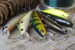 Θέλγητρα και εξαρτήματα αλιείας στοκ εικόνα με δικαίωμα ελεύθερης χρήσης