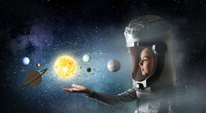 Θέλει να γίνει αστροναύτης Μικτά μέσα Στοκ φωτογραφία με δικαίωμα ελεύθερης χρήσης