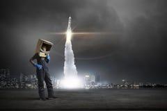 Θέλει να γίνει αστροναύτης Μικτά μέσα Στοκ εικόνα με δικαίωμα ελεύθερης χρήσης