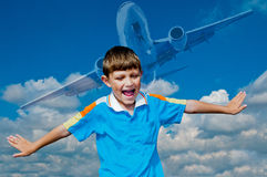 Θέλω να είμαι πιλότος Στοκ φωτογραφία με δικαίωμα ελεύθερης χρήσης