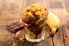 Θίχουλο με την μπανάνα και τη σοκολάτα στοκ εικόνες με δικαίωμα ελεύθερης χρήσης
