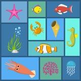 Θαλάσσια διανυσματική απεικόνιση σχεδίων εγκαταστάσεων και ψαριών άνευ ραφής Κολύμβηση και φύκι ψαριών στο ενυδρείο ή τη θάλασσα  απεικόνιση αποθεμάτων