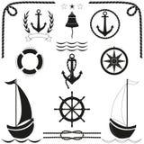 Θαλάσσια εικονίδια σκιαγραφιών καθορισμένα Μαύρο σημάδι ναυτικού διάνυσμα διανυσματική απεικόνιση