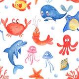 Θαλάσσια ζωή: χταπόδι, μέδουσα, stingray, θαλασσινό κοχύλι, κοράλλι, δελφίνι, ψάρια, αστερίας Άνευ ραφής ασβέστιο διανυσματική απεικόνιση