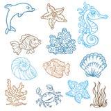 Θαλάσσια ζωή doodles Στοκ Εικόνα