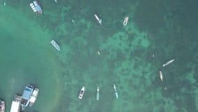 Θαλάσσια σκάφη στη θάλασσα εναέρια όψη απόθεμα βίντεο