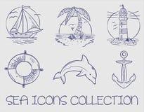 Θαλάσσια ωκεάνια συλλογή εικονιδίων θάλασσας στοκ εικόνες με δικαίωμα ελεύθερης χρήσης