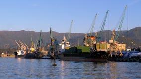 Θαλάσσιος λιμένας Batumi με τους γερανούς, τις φορτηγίδες και τα σκάφη στη θάλασσα ενάντια στο σκηνικό των βουνών απόθεμα βίντεο