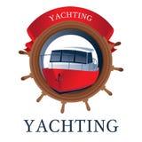 Θαλάσσιο λογότυπο με το τιμόνι, το γιοτ και την κορδέλλα διανυσματική απεικόνιση