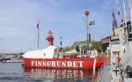 Θαλάσσιο μουσείο Stocholm, πλωτός φάρος Finngrundet στοκ φωτογραφία