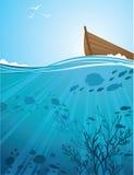 θαλάσσιο νερό βαρκών Απεικόνιση αποθεμάτων