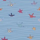 Θαλάσσιο πρότυπο με τον αστερία και τα κύματα Ελεύθερη απεικόνιση δικαιώματος