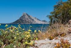 ΘΑΛΑΣΣΑ του Πόρτο Taverna στο νησί της Σαρδηνίας ΜΕ TAVOLARA Στοκ Φωτογραφίες