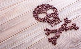 Θανατώσεις, κρανίο και crossbones σύμβολο καφέ Στοκ εικόνα με δικαίωμα ελεύθερης χρήσης