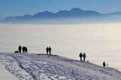 Θαυμάσια άποψη των ορών το χειμώνα, από την κορυφή του βουνού Gaisberg, Αυστρία στοκ φωτογραφίες
