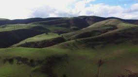 Θαυμάσια εναέρια άποψη του πράσινου τοπίου βουνών απόθεμα βίντεο