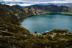 Θαυμάσια λιμνοθάλασσα Quilotoa, Ισημερινός Στοκ φωτογραφίες με δικαίωμα ελεύθερης χρήσης