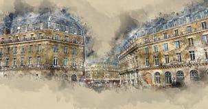 Θαυμάσια μέγαρα στο Παρίσι - καταπληκτική άποψη οδών Στοκ Φωτογραφία