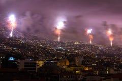 Θαυμάσια νέα πυροτεχνήματα έτους νησί του Φουνκάλ, Μαδέρα, Πορτογαλία Στοκ Φωτογραφία