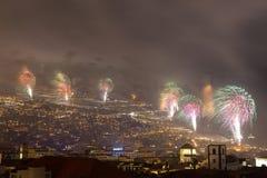 Θαυμάσια νέα πυροτεχνήματα έτους νησί του Φουνκάλ, Μαδέρα, Πορτογαλία Στοκ φωτογραφίες με δικαίωμα ελεύθερης χρήσης