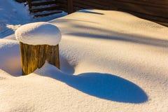 Θαυμάσια snowdrifts σε μια άκρη στο ξύλο Στοκ Εικόνα