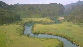 Θαυμάσιος ήρεμος μπλε ποταμός που περιβάλλεται από τους πράσινους τομείς απόθεμα βίντεο