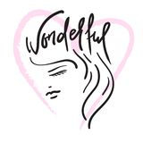 Θαυμάσιος - η επικεφαλής και χειρόγραφη φράση κοριτσιών ` s Συρμένη χέρι όμορφη εγγραφή Τυπωμένη ύλη για την εμπνευσμένη αφίσα, διανυσματική απεικόνιση