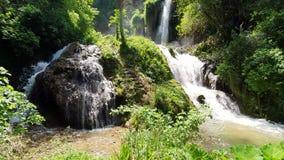 Θαυμάσιος καταρράκτης στον ηλιόλουστο καιρό στο πάρκο άγριας φύσης Tivoli, Ιταλία απόθεμα βίντεο