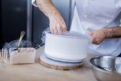 Θαυμάσιος μάγειρας που προετοιμάζει ένα πιάτο από τη μοριακή γαστρονομία στοκ φωτογραφία
