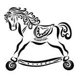 Θαυμάσιο άλογο μωρών στις ρόδες με το σγουρούς Μάιν και τη σέλα απεικόνιση αποθεμάτων