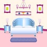 Θαυμάσιο δωμάτιο κρεβατιών απεικόνιση αποθεμάτων