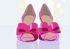 Θαυμάσιο και κομψό ζευγάρι των ρόδινων παπουτσιών διανυσματική απεικόνιση