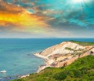 Θαυμάσιο τοπίο της παραλίας Aquinnah, αμπελώνας της Martha Στοκ Εικόνες
