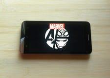 Θαύμα Comics στο κινητό τηλέφωνο στοκ φωτογραφίες με δικαίωμα ελεύθερης χρήσης