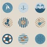 Θαλάσσια εικονίδια Στοκ εικόνα με δικαίωμα ελεύθερης χρήσης