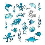 Θαλάσσια ζωή, συλλογή των σκίτσων για το σχέδιό σας Στοκ εικόνα με δικαίωμα ελεύθερης χρήσης
