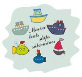 Θαλάσσια σκάφη, βάρκες, χρωματισμένα υποβρύχια εικονίδια Παιδιά, ύφος κινούμενων σχεδίων επίσης corel σύρετε το διάνυσμα απεικόνι Στοκ Φωτογραφίες