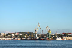 Θαλάσσιος λιμένας φορτίου, πανόραμα γερανών Στοκ φωτογραφία με δικαίωμα ελεύθερης χρήσης