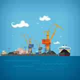 Θαλάσσιος λιμένας φορτίου διανυσματική απεικόνιση