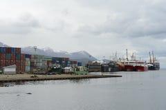 Θαλάσσιος λιμένας Ushuaia - η πιό νοτηότατη πόλη στον κόσμο Στοκ φωτογραφία με δικαίωμα ελεύθερης χρήσης