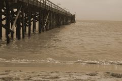 Θαλάσσιος περίπατος, παραλία Calefornia Goleta Στοκ Εικόνες